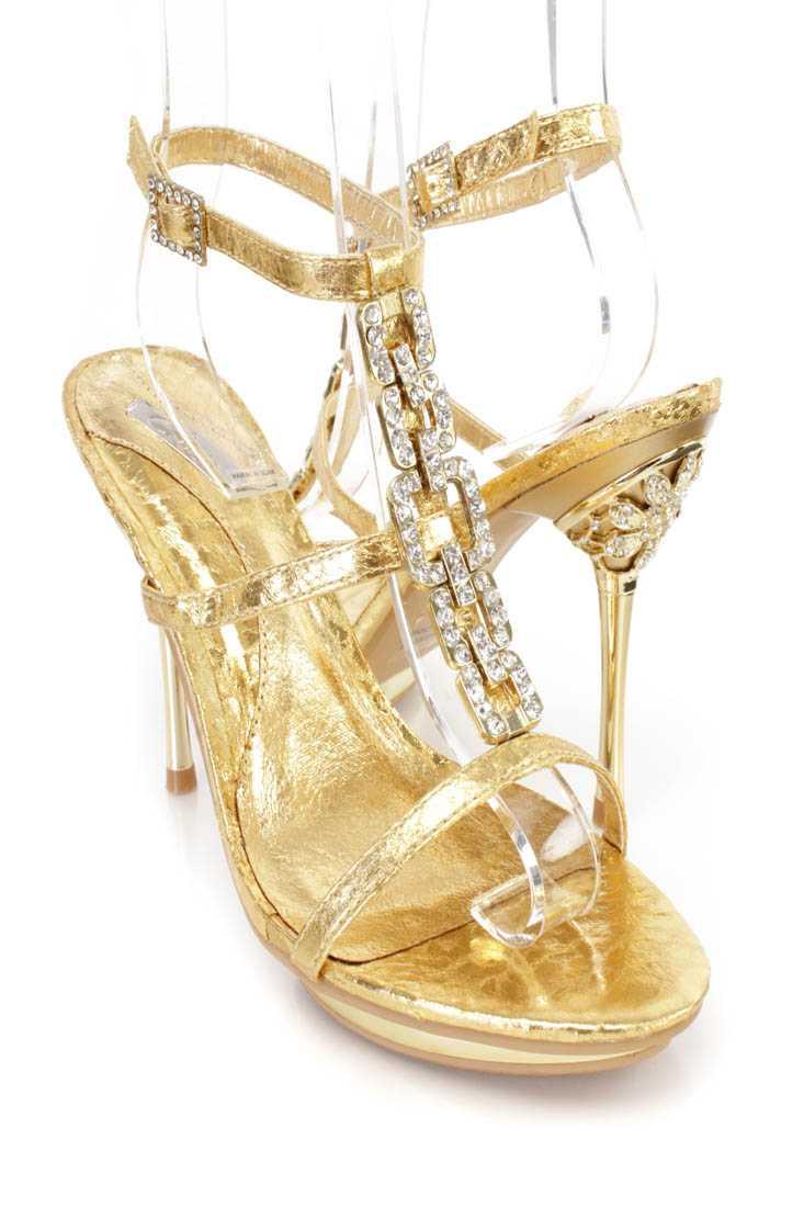 Gold Crinkle Rhinestone T Strap Platform High Heels