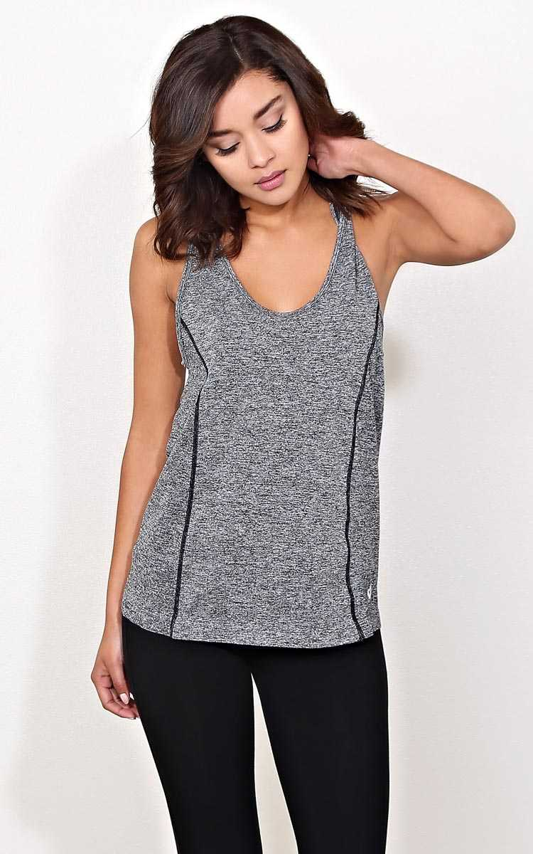 Hit It Hard Performance Tank - - Charcoal in Size by Styles For Less