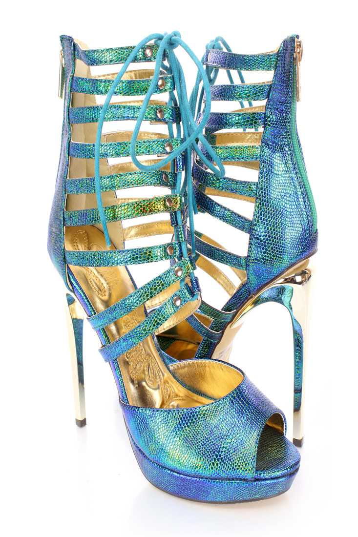Green Strappy Peep Toe Stiletto High Heels Faux Leather