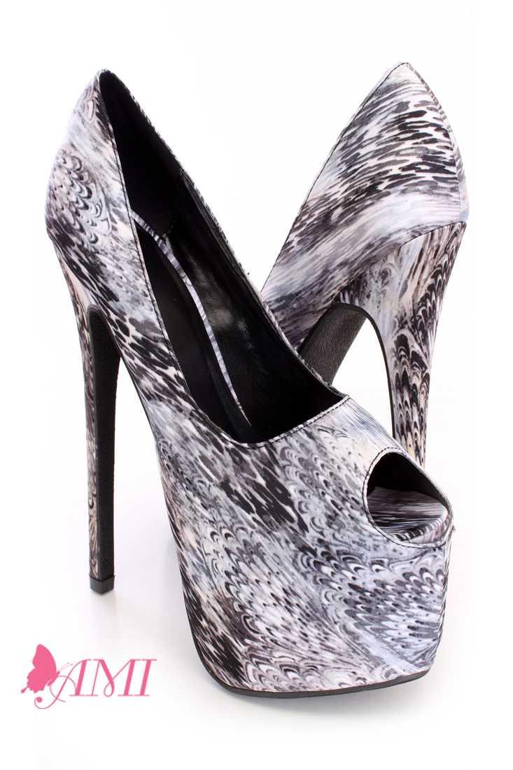 Grey Multi Printed Pump High Heels Fabric