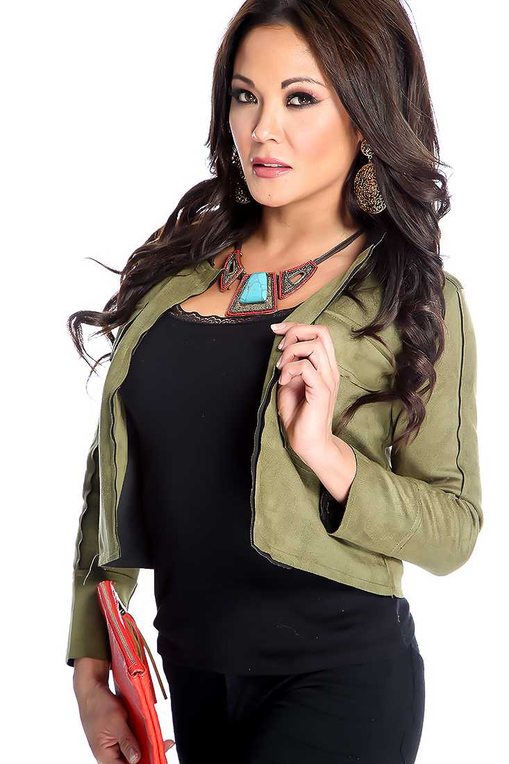 Stylish Olive Long Sleeve Micro Faux Suede Jacket