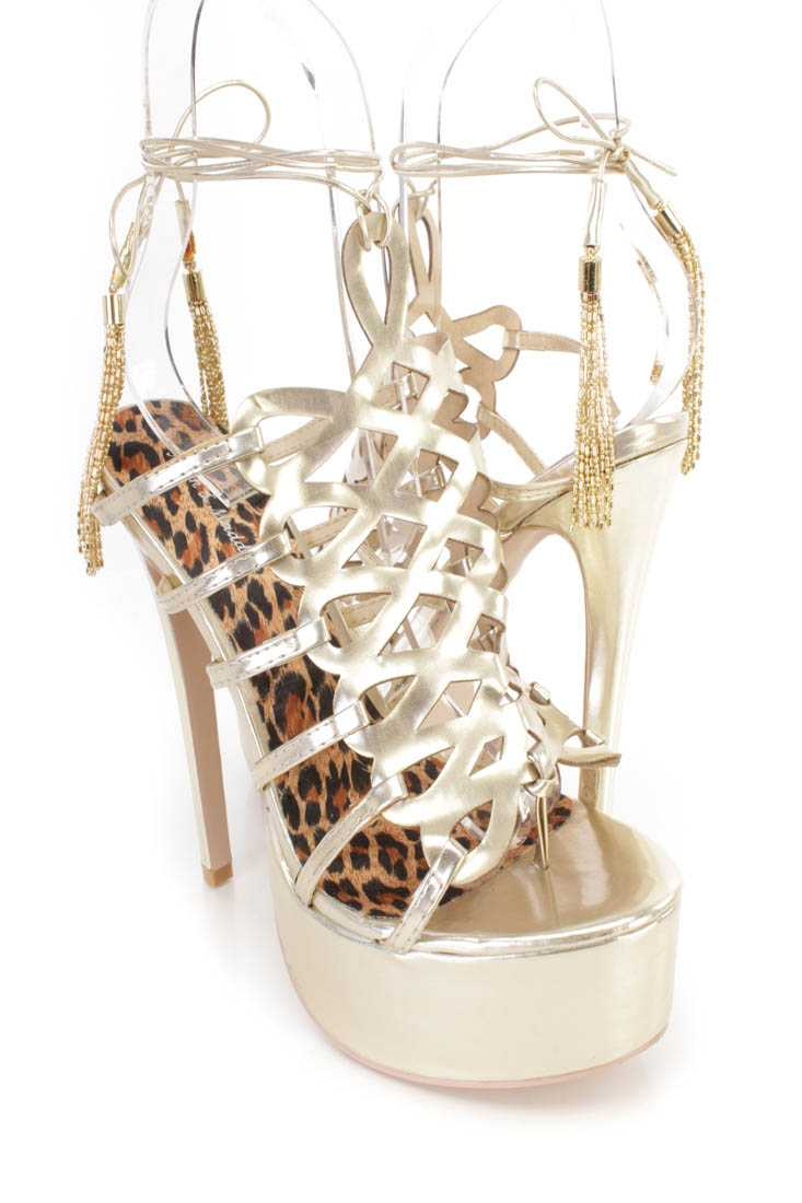 Gold Strappy Wrap Around Platform 6 Inch High Heels Faux Leather