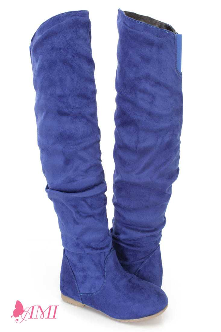 Royal Blue Slouchy Shaft Thigh High Boots Faux Suede