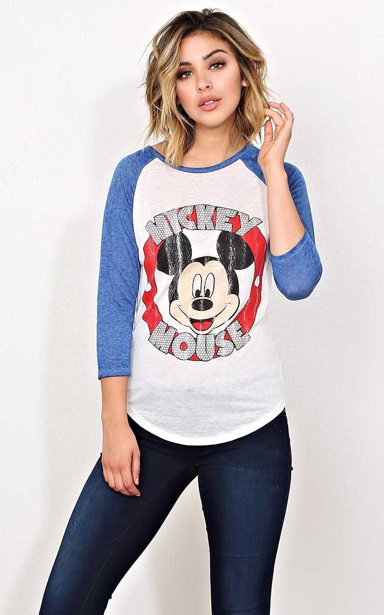 MICKEY MOUSE Graphic Knit Raglan - - Blue Combo in Size by Styles For Less