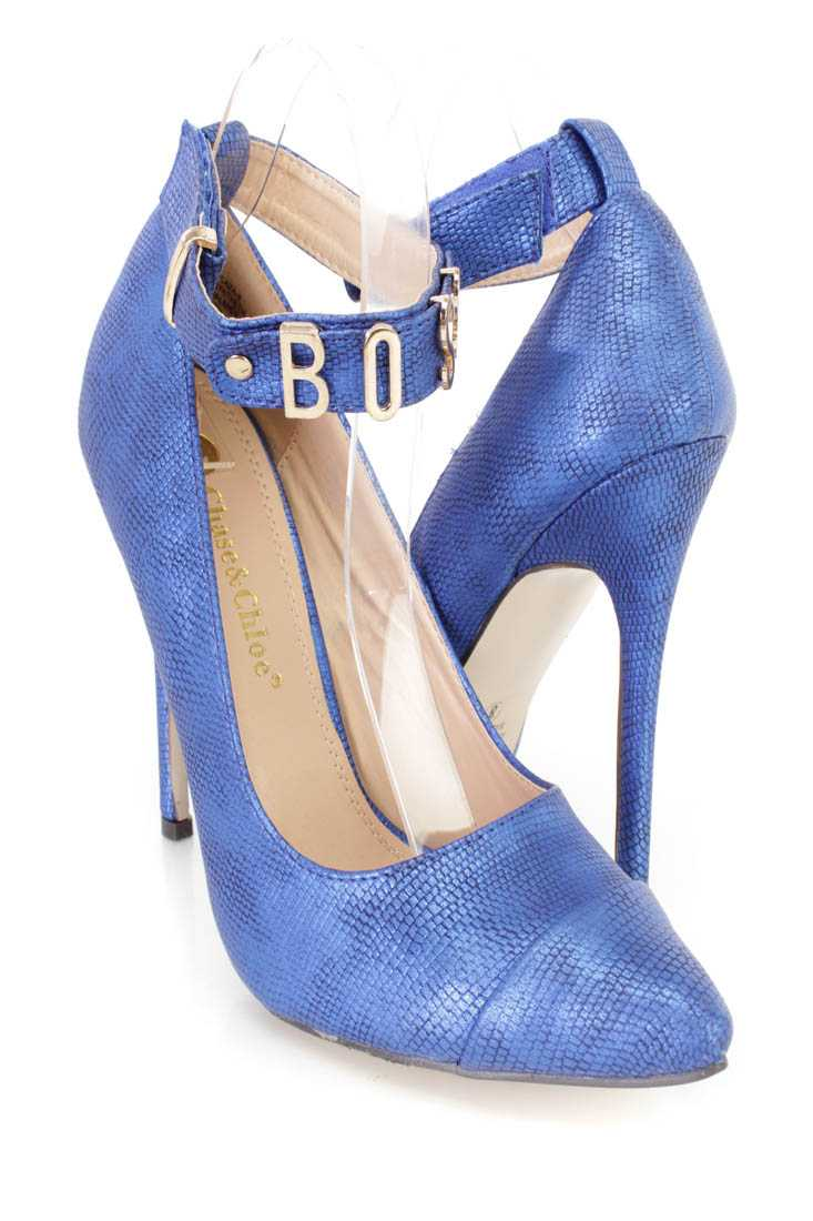 Blue Ankle Strap Single Sole High Heels Faux Leather