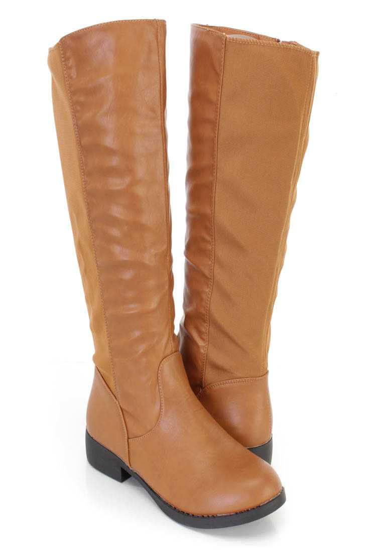 Tan Nylon Fabric Riding Boots Faux Leather