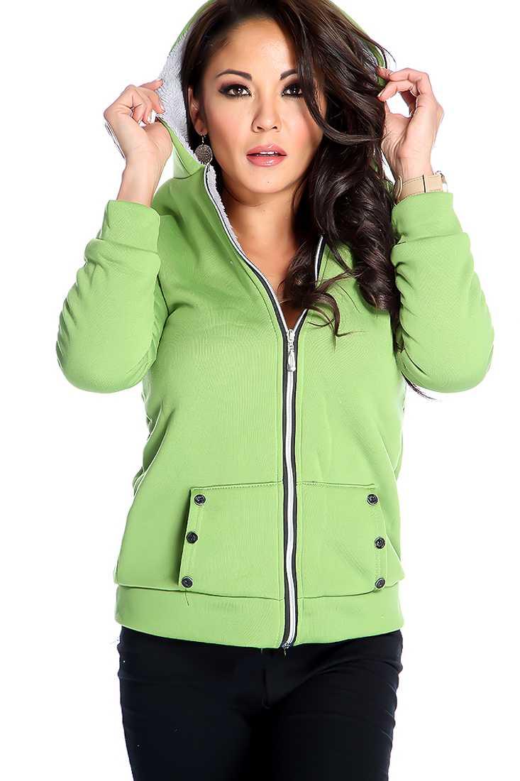 Stylish Olive Long Sleeve Zip Up Sweater