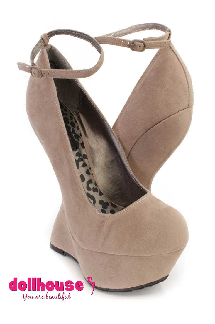 Taupe Ankle Strap Platform Curved Wedges Faux Suede