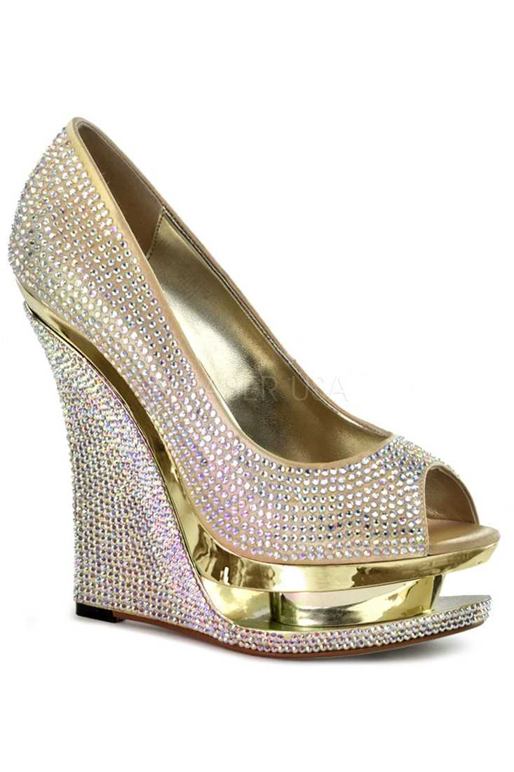 Gold Rhinestone Peep Toe Carved Platform Wedges Satin