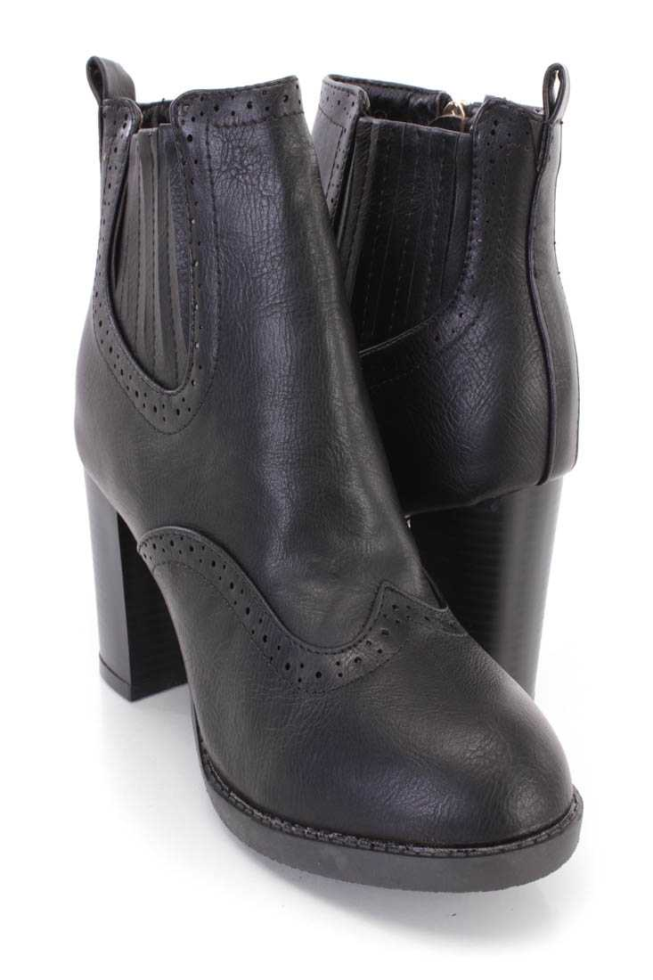 Black Pleated Side Ankle Booties Faux Leather