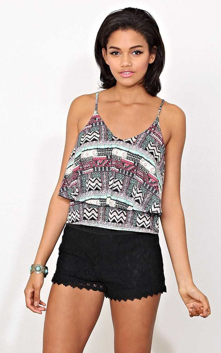 Let It Be Double Tier Knit Tank - - Black Combo in Size by Styles For Less