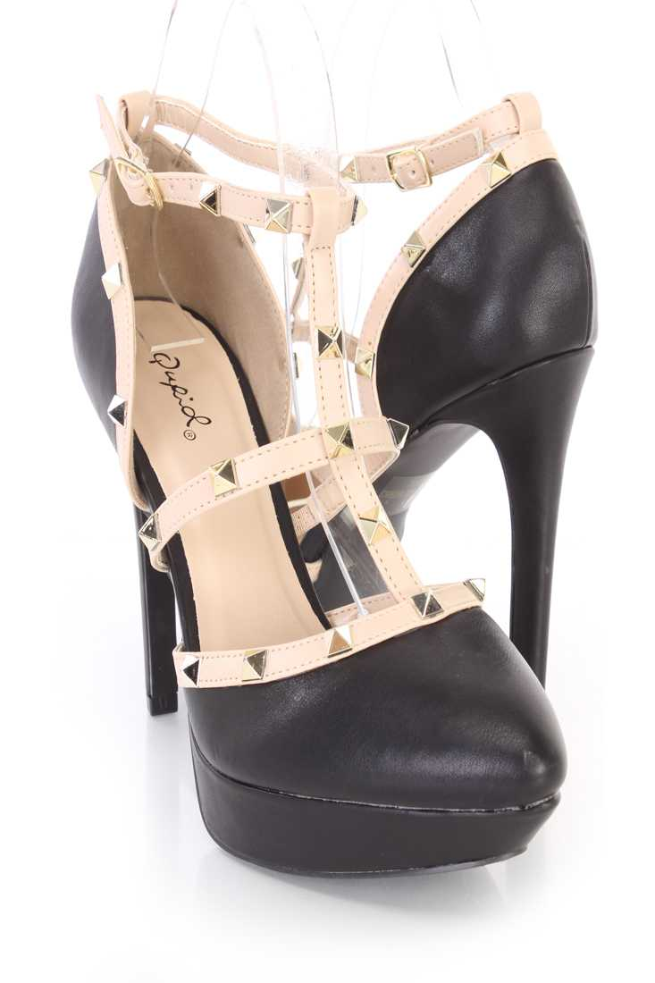 Black Spike Studded Strappy Platform High Heels Faux Leather