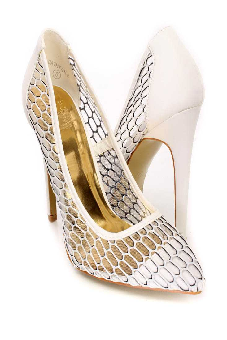 White Cute Out Mesh Cute Fall Single Soles Heels Faux Leather