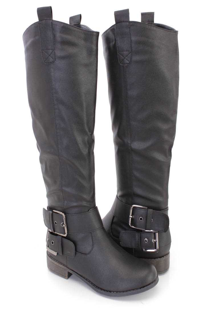 Black Buckle Strappy Riding Boots Faux Leather