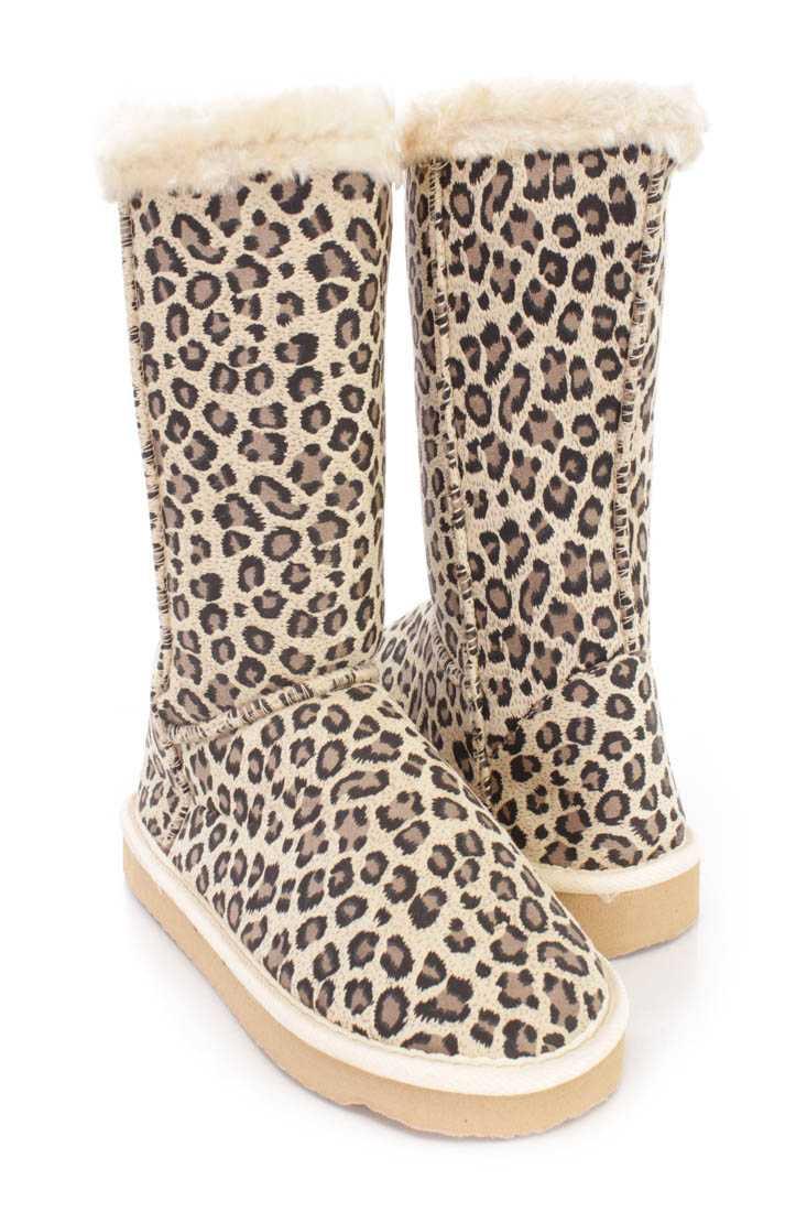 Camel Leopard Print Faux Fur Trim Boots Faux Suede