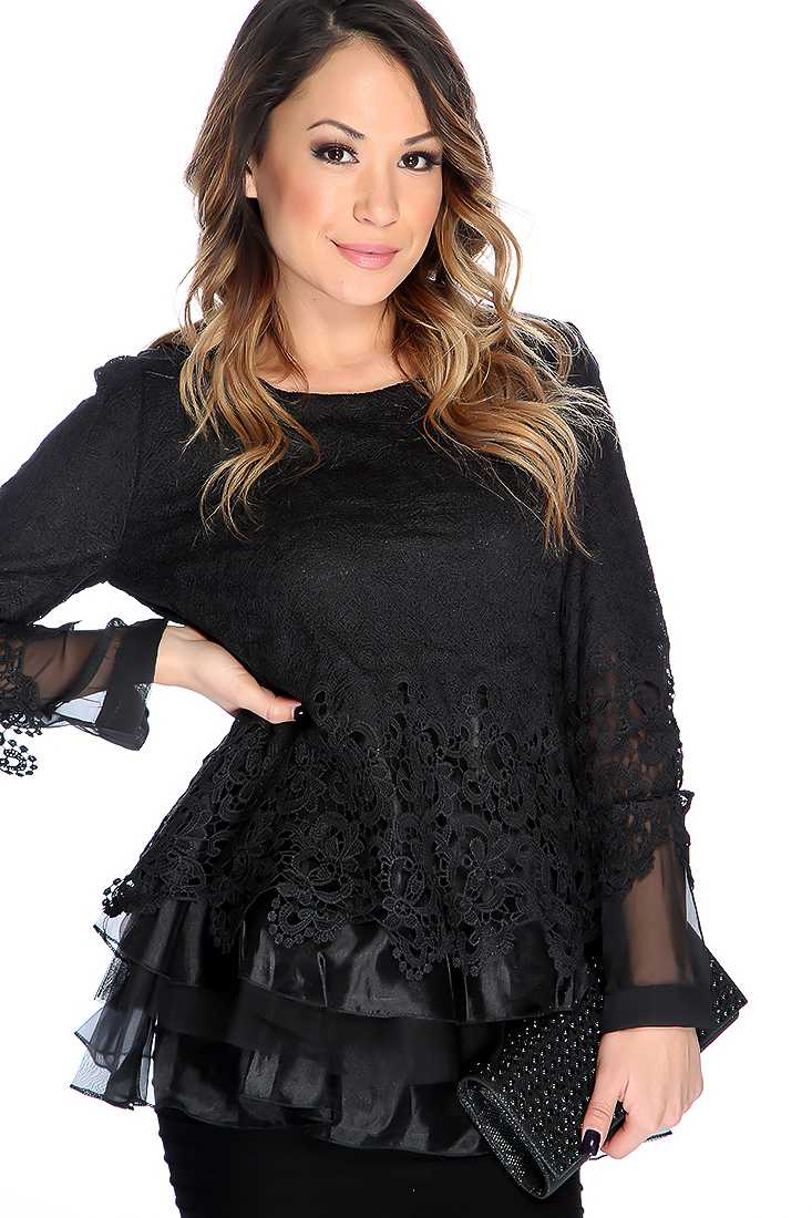 Black Long Sleeves Lace Detail Two Tone Top
