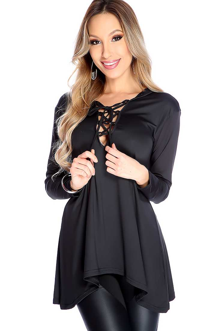 Stylish Black Tie Up Strap Chest Long Sleeve Dressy Top
