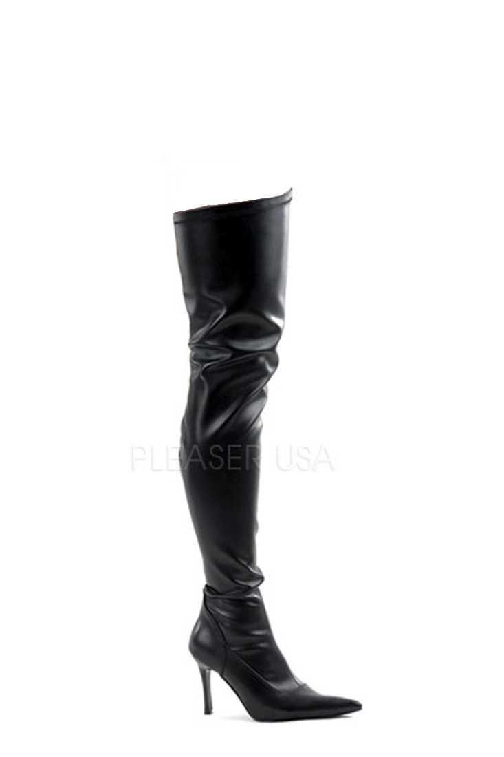 Black Pointed Toe Thigh High Boots Faux Leather