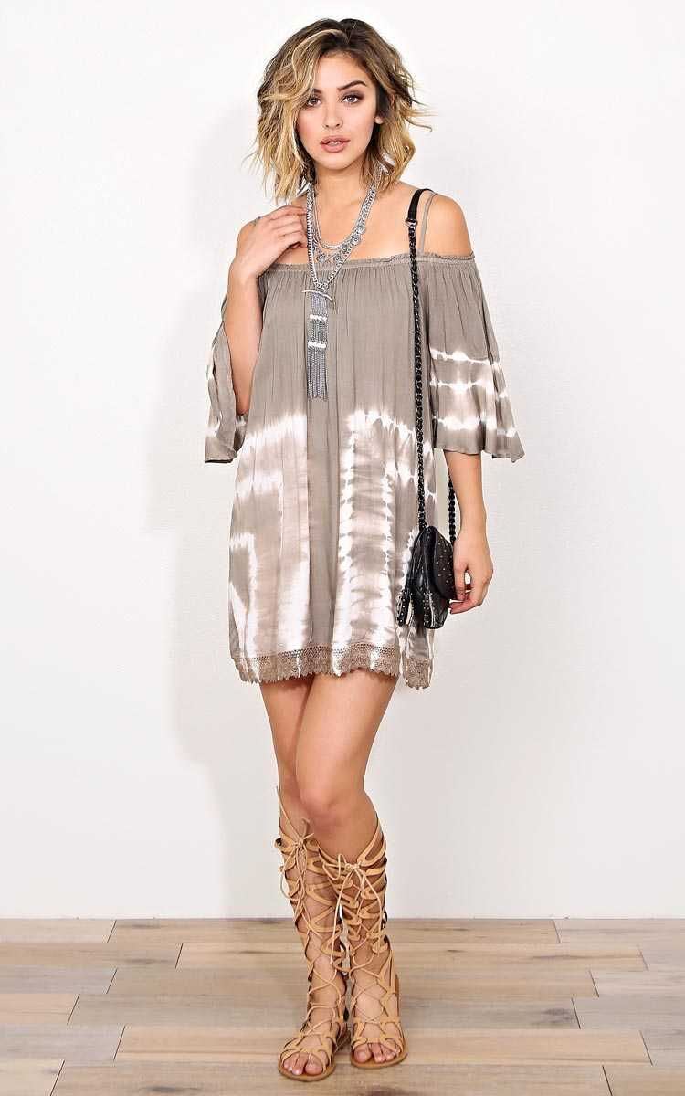Carley Tie Dye Woven Shift Dress - MED - Taupe Combo in Size Medium by Styles For Less