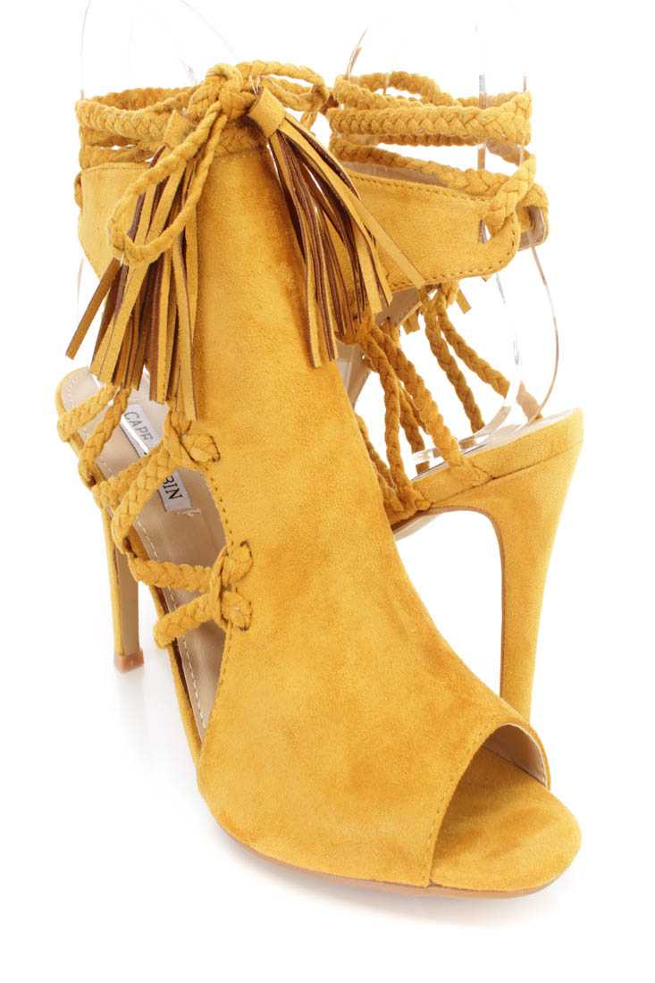 Yellow Wrap Around Braided Strappy Single Sole High Heels Faux Suede