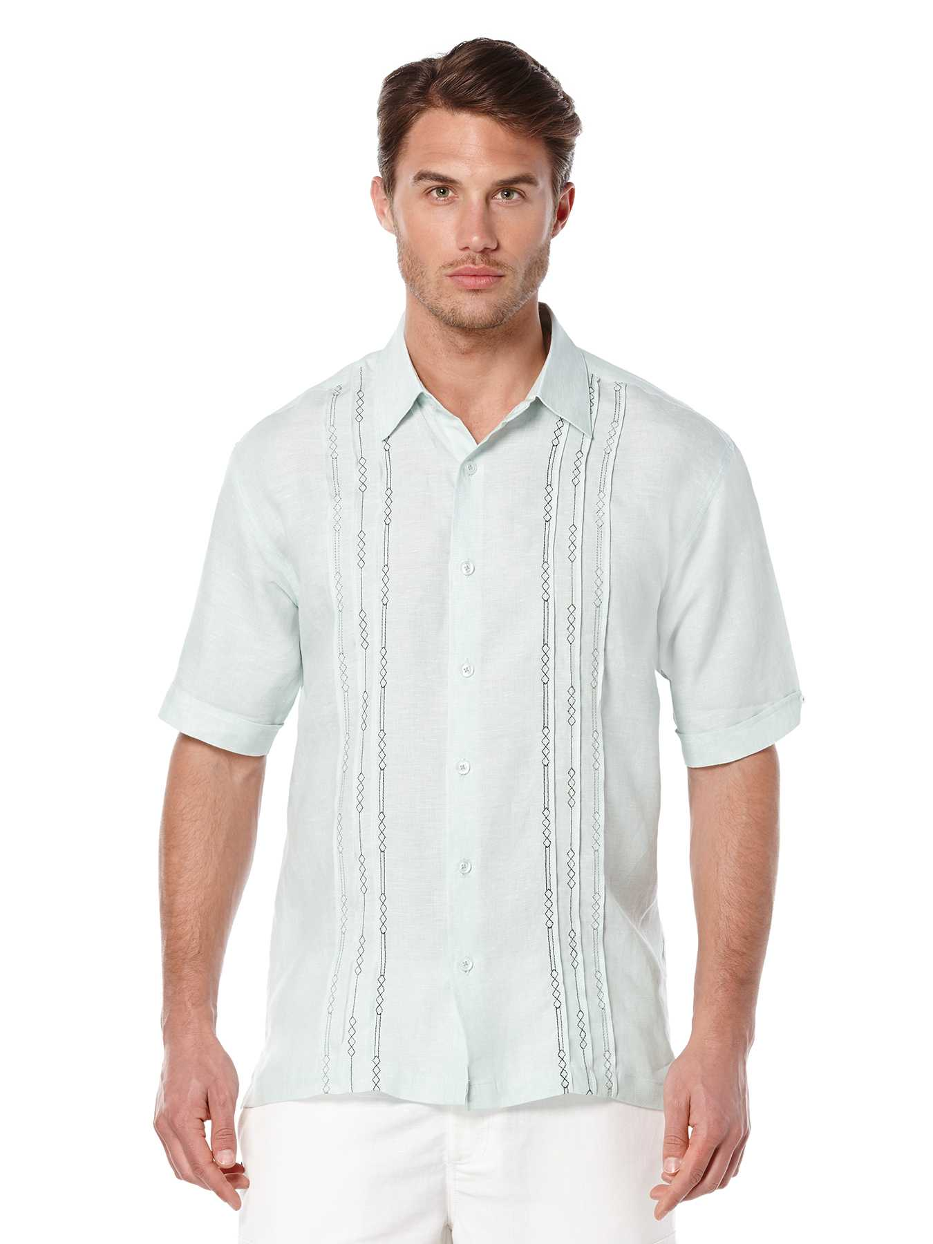 Cubavera Short Sleeve 100% Linen Tuck With Embroidery