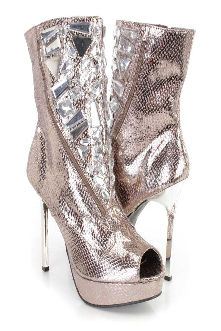 Pewter Gemstone Peep Toe Platform Heel Booties Faux Leather