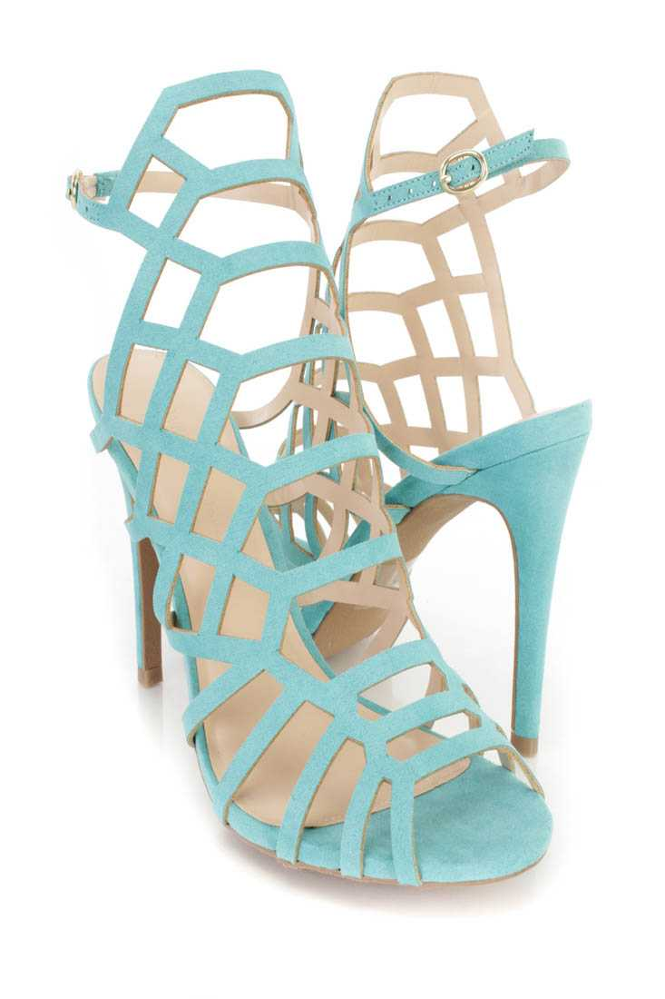 Bright Jade Caged Peep Toe Heels Faux Suede