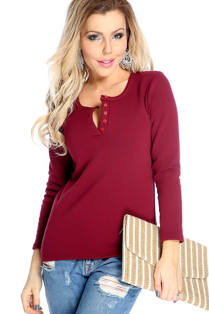 Comfy Wine Long Sleeve Button Up Casual Sweater Top