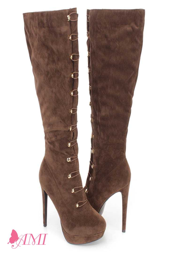 Brown Hook Loop High Heel Boots Faux Suede