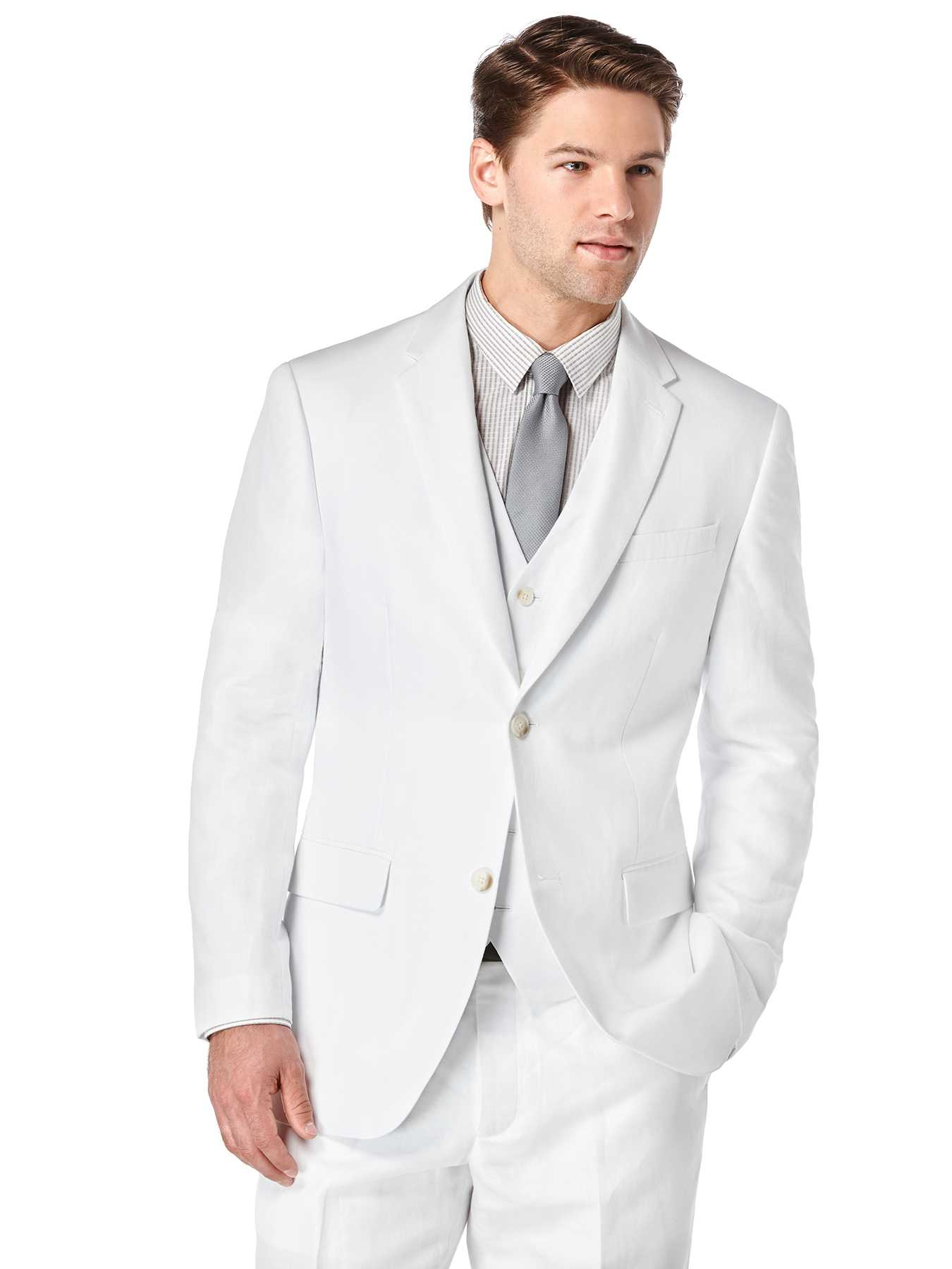 Perry Ellis Linen Cotton Twill Suit Jacket