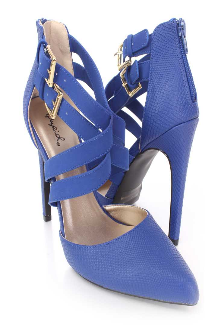 Cobalt Blue Cross Strappy Single Sole Heels Faux Leather