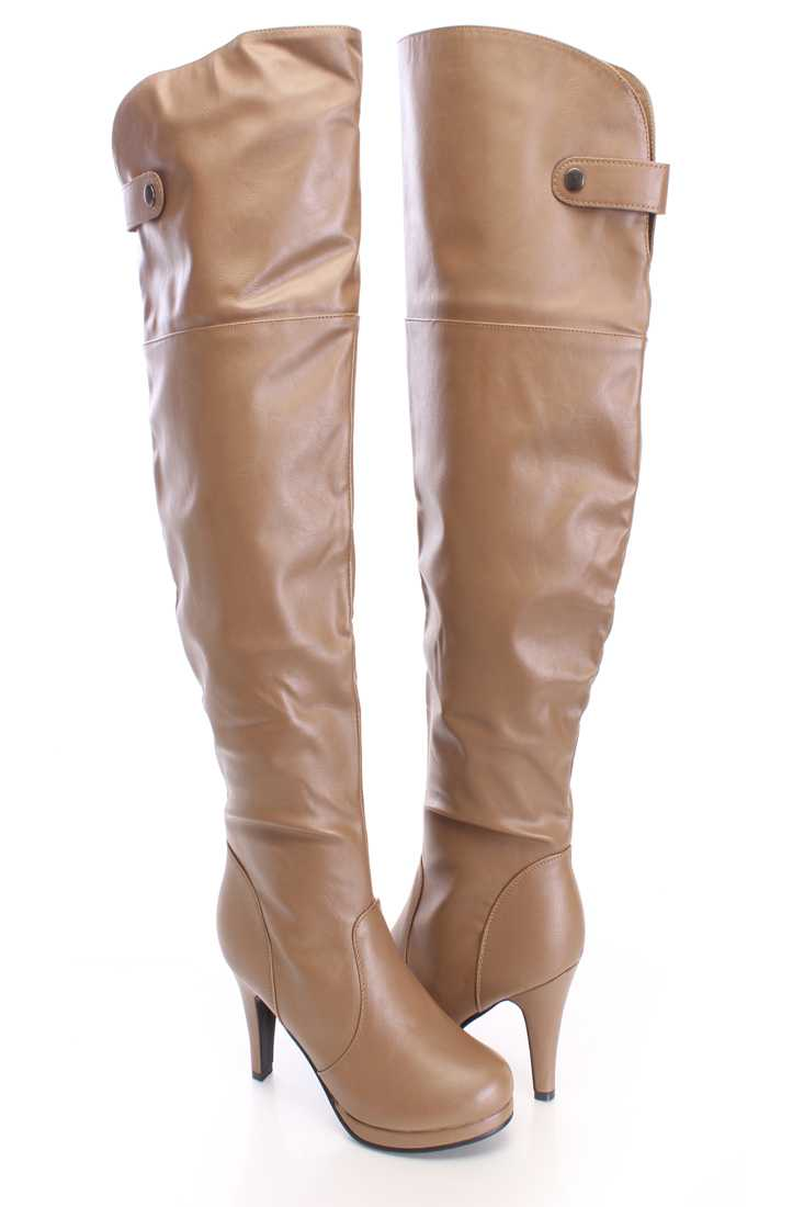 Khaki Thigh High Boots Faux Leather