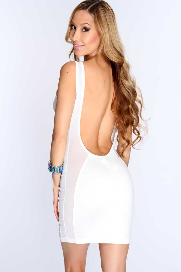 White Plunging Scoop Back Sexy Clubwear Dress