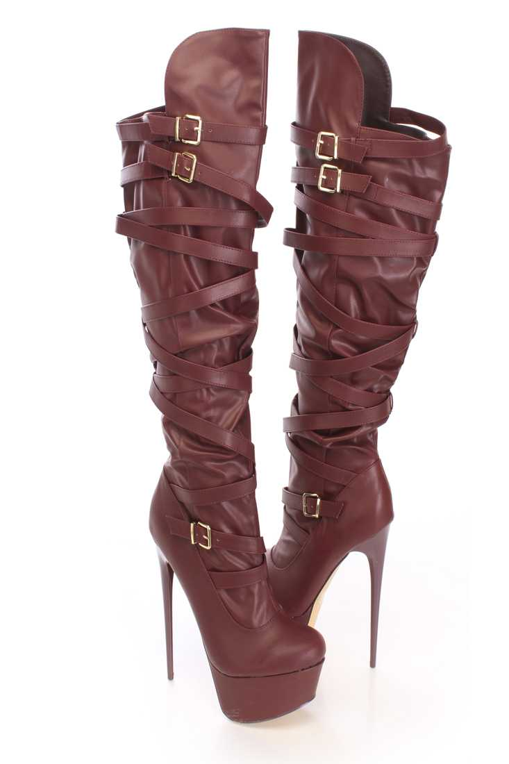 Wine Strappy Platform Knee High Boots Faux Leather