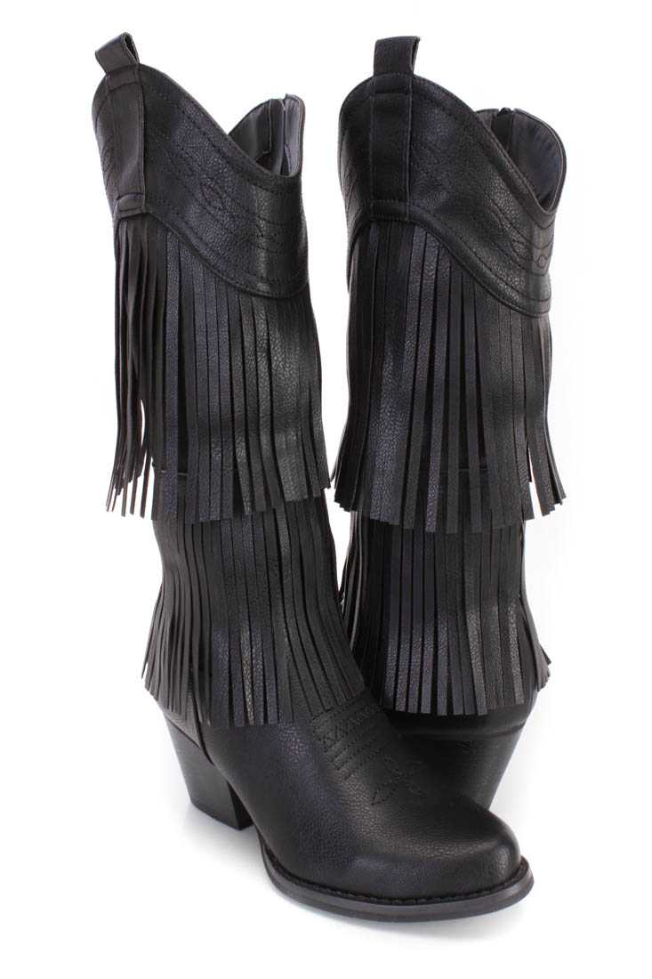 Black Stitched Fringe Western Boots Faux Leather