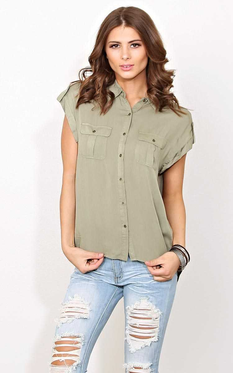 Alyssa Button Front Woven Top - - Olive/Drab in Size by Styles For Less