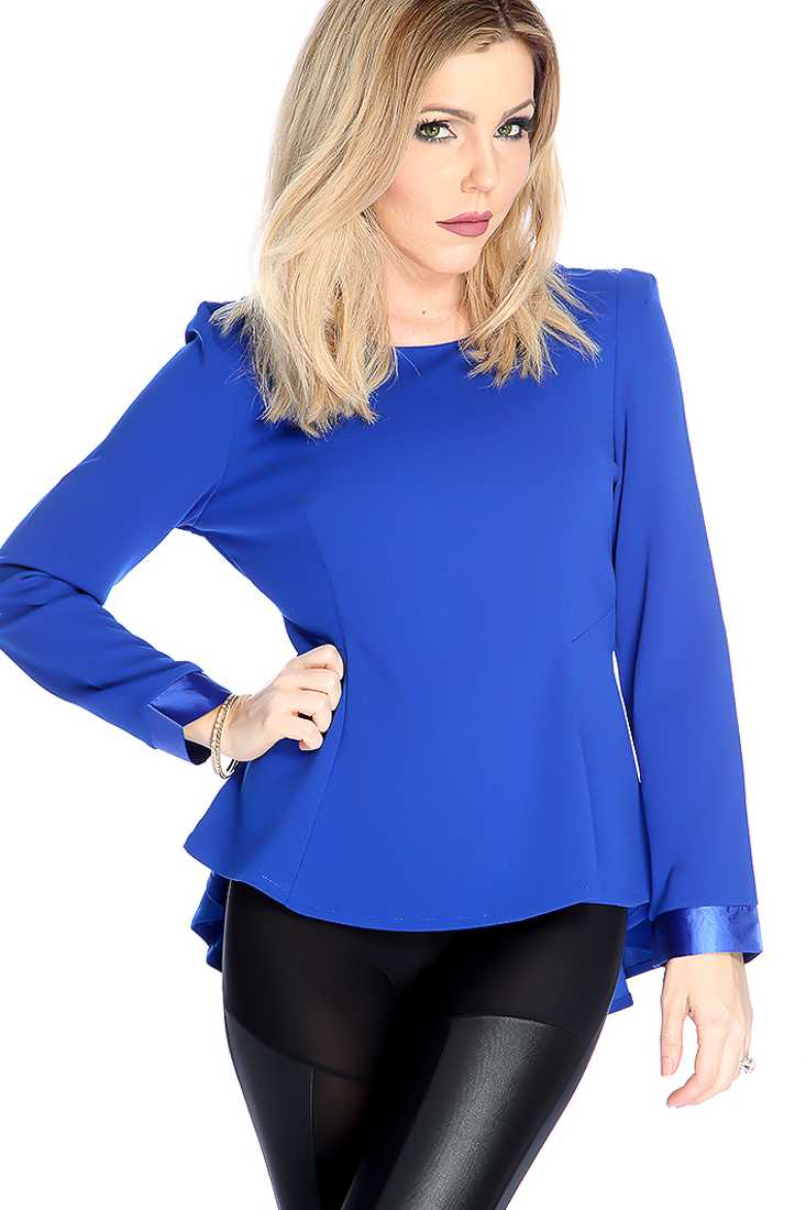Sexy Royal Blue Long Sleeve Round Neck Dressy Top