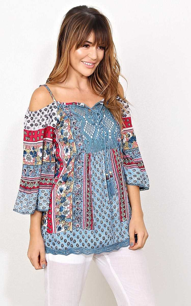 ANGIE Boho Bliss Woven Top - - Ivory Combo in Size by Styles For Less