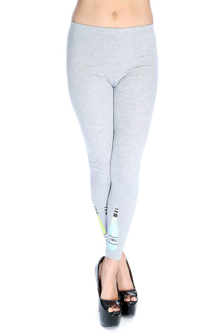 Grey Fitted Graphic Print Leggings