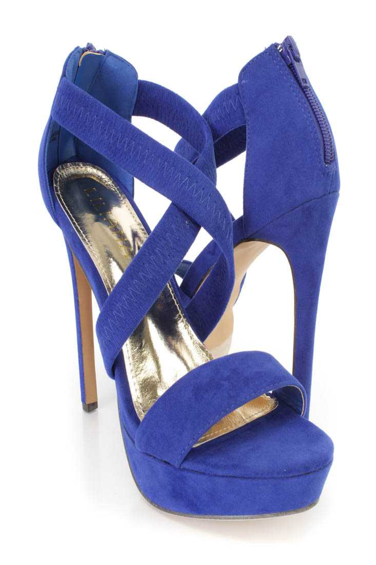 Blue Cross Strappy Platform High Heels Faux Suede