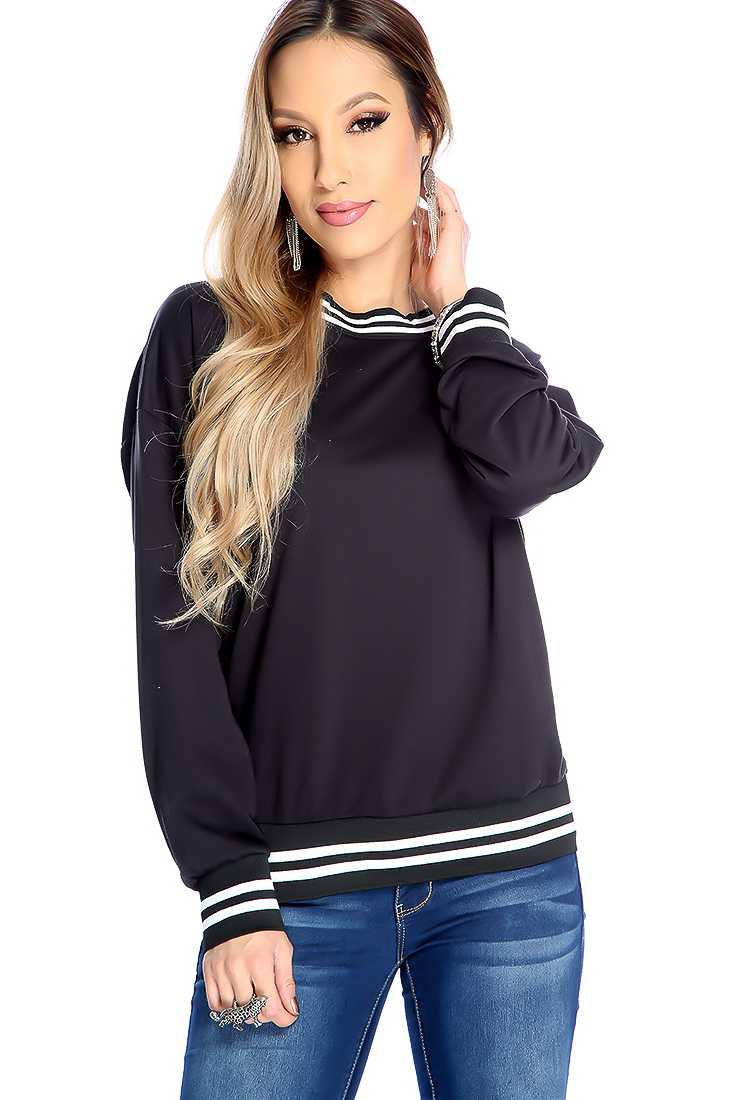 Black Long Sleeve Casual Sweater Top