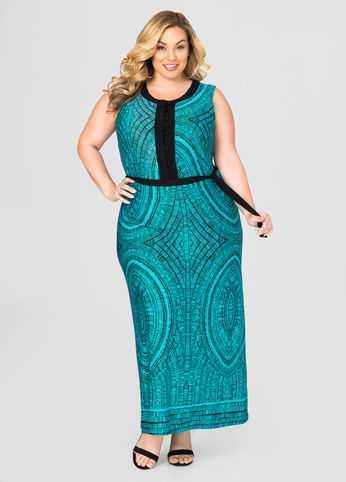 Tie Waist Printed Maxi Dress