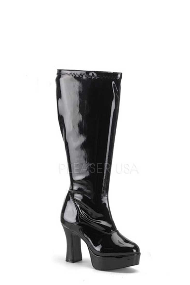 Black Wide Width Chunky Heel GoGo Boots Patent