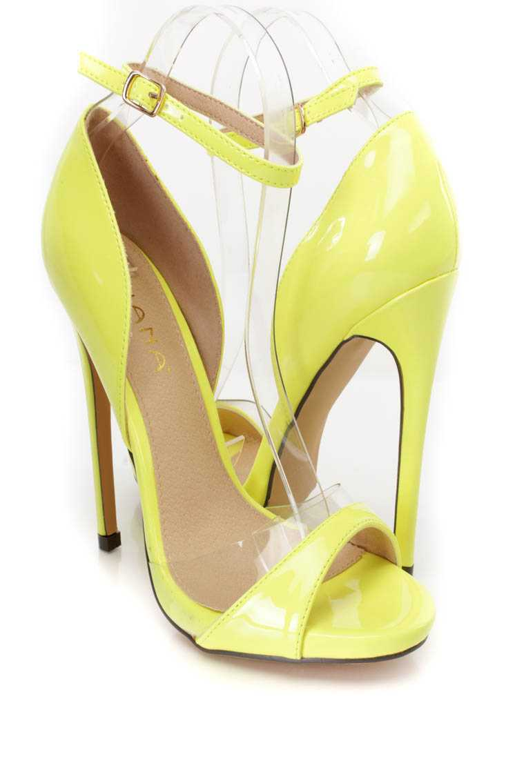 Neon Yellow Peep Toe Single Sole High Heels Patent