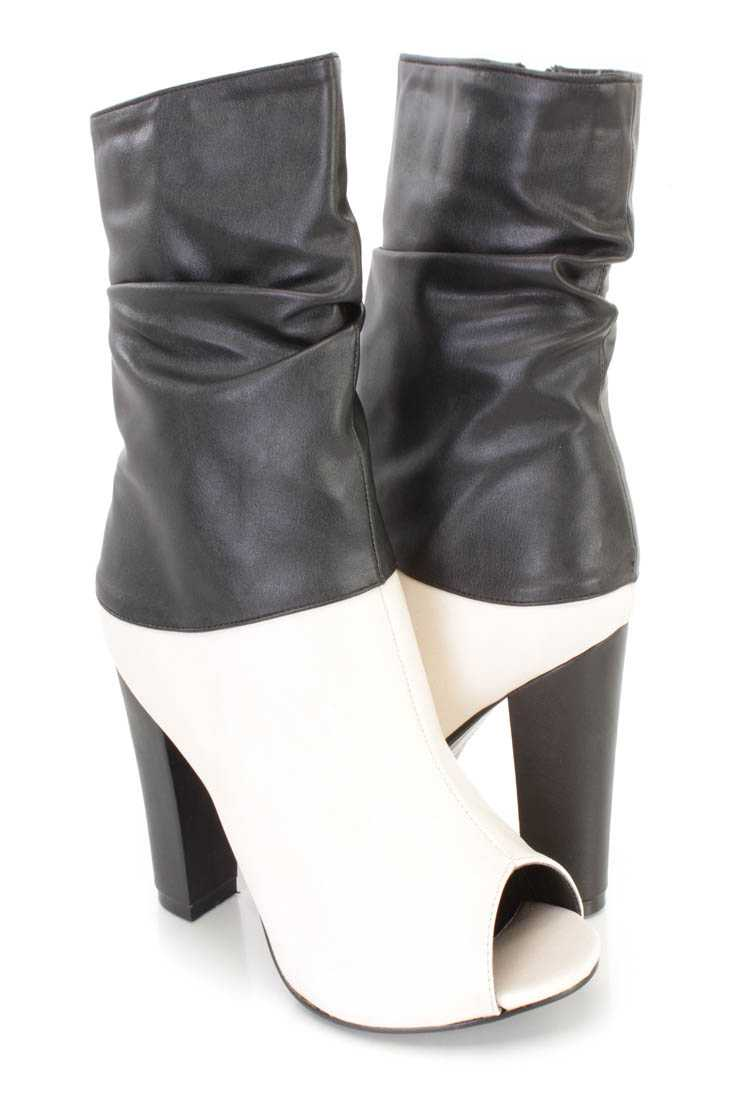 Beige Two Tone Slouchy Chunky Heel Boots Faux Leather