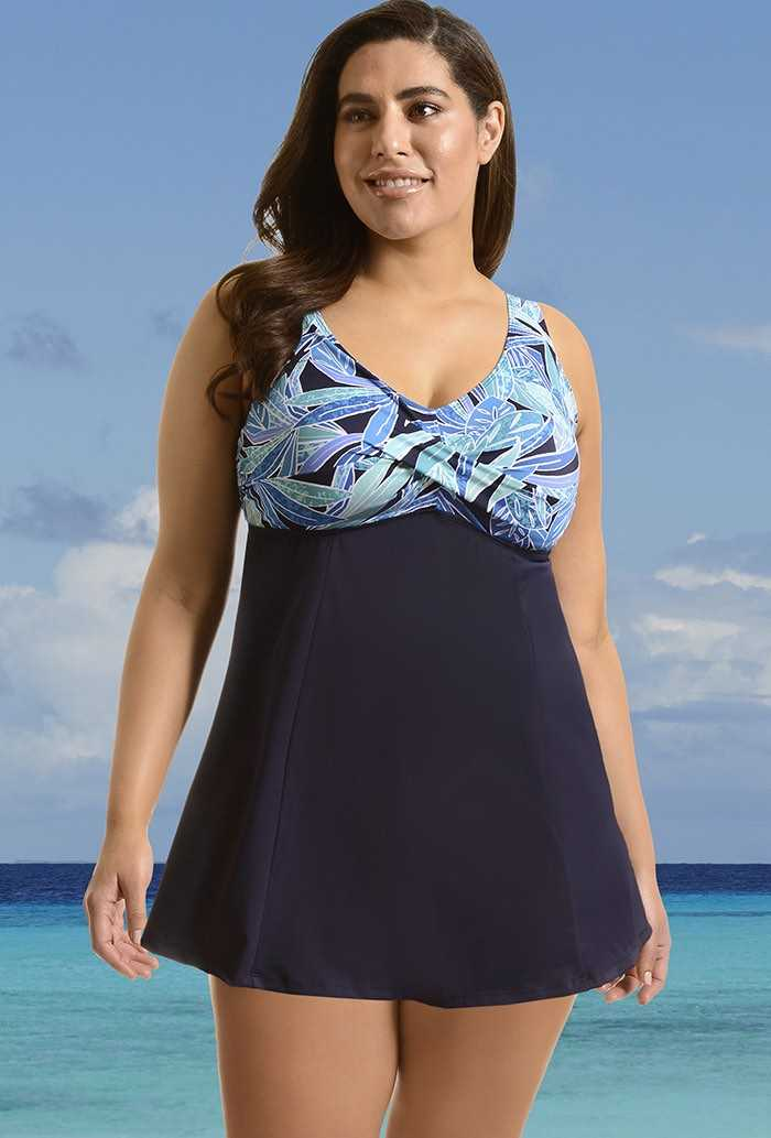 Blue/Green Leaves Bodice Print Swimdress