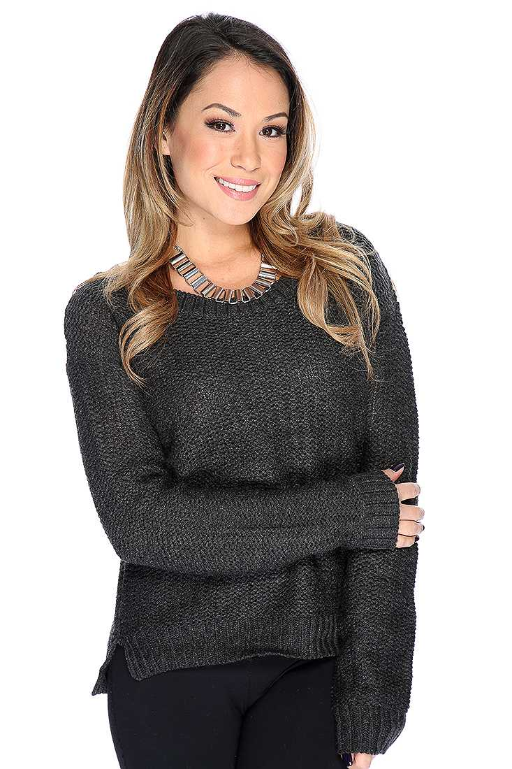 Charcoal Open Knitted Long Sleeve Sweater Top