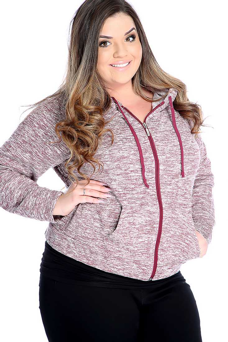 Casual Burgundy Plus Size Burnout Print Long Sleeve Sweater