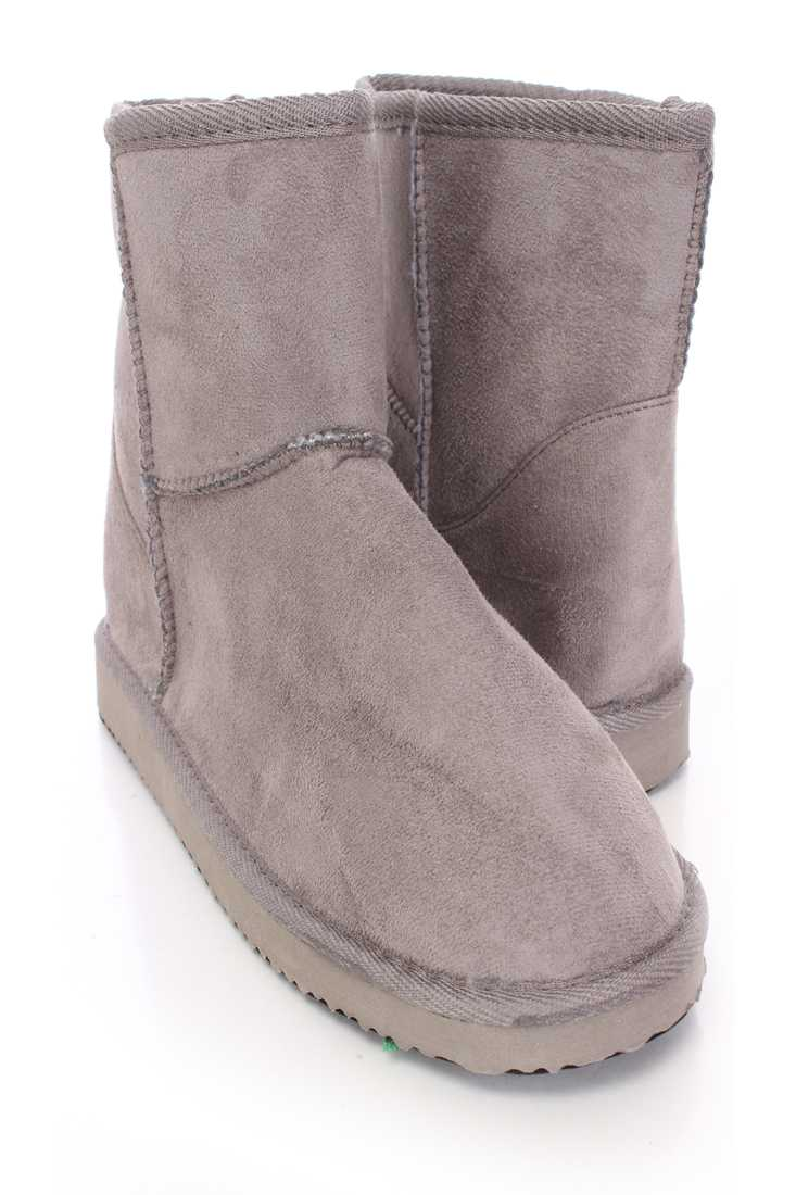 Grey Slip On Casual Ankle Booties Faux Suede