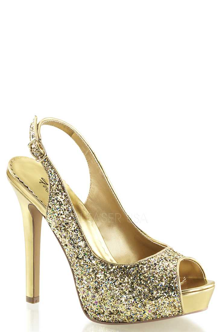 Gold Peep Toe Sling Back Pump High Heels Glitter